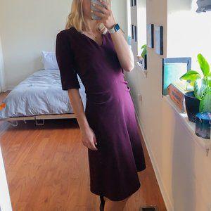 M.M. LaFleur Ruched V Neck 3/4 Sleeve Dress Large
